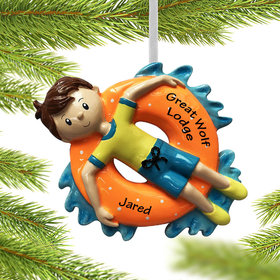 Personalized Boy Relaxing on Inner Tube Christmas Ornament