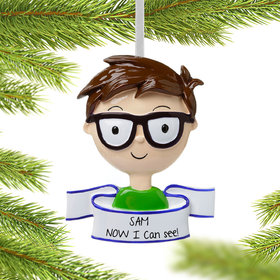Personalized Boy Wearing Glasses Christmas Ornament