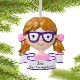 Personalized Girl Wearing Glasses Christmas Ornament