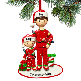 Personalized Single Dad with One Child Christmas Ornament