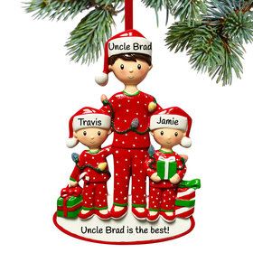 Personalized Single Dad with Two Child Christmas Ornament
