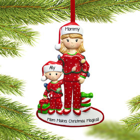 Personalized Single Mom with One Child Christmas Ornament