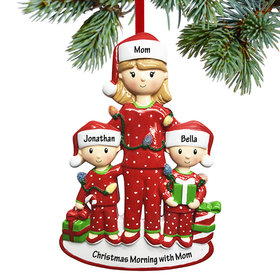 Personalized Single Mom with Two Children Christmas Ornament