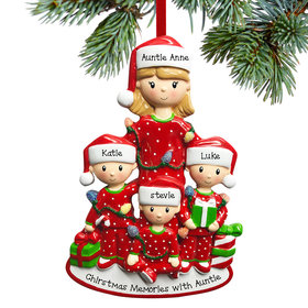 Personalized Single Mom with Three Children Christmas Ornament
