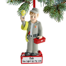 Personalized Electrician on the Job Christmas Ornament