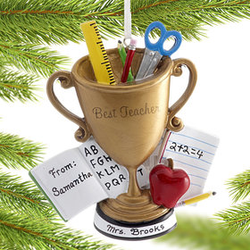 Personalized Best Teacher Trophy Christmas Ornament