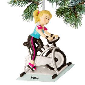 Personalized Spin Class Rider Christmas Ornament