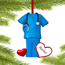 Personalized Blue Scrubs Christmas Ornament