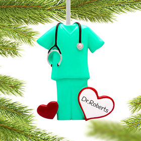 Personalized Green Scrubs Christmas Ornament