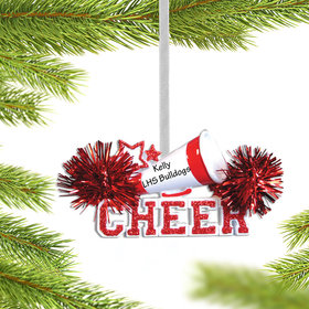 Personalized Cheer with Megaphone Red Christmas Ornament