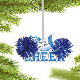 Personalized Cheer with Megaphone Blue Christmas Ornament
