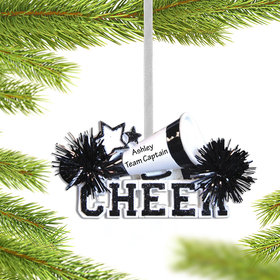 Personalized Cheer with Megaphone Black Christmas Ornament