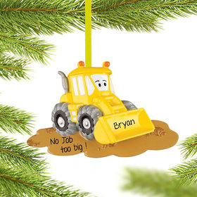 Personalized Yellow Bulldozer Christmas Ornament