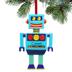 Personalized Robot with Gears Christmas Ornament