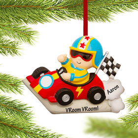 Personalized Child Race Car Driver Christmas Ornament