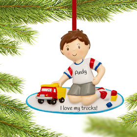 Personalized Boy Playing with Toy Truck Christmas Ornament