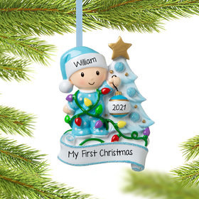 Personalized Baby Boy Decorating Tree Christmas Ornament