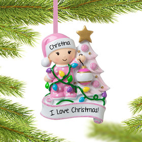 Personalized Baby Girl Decorating Tree Christmas Ornament