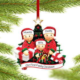 Personalized Opening Presents Family of 3 Christmas Ornament
