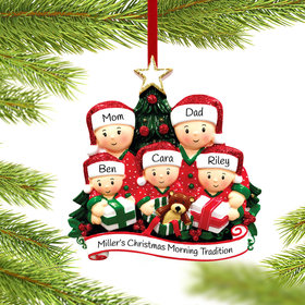 Personalized Opening Presents Family of 5 Christmas Ornament
