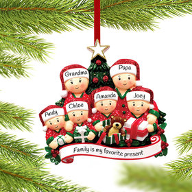 Personalized Opening Presents Family of 6 Christmas Ornament