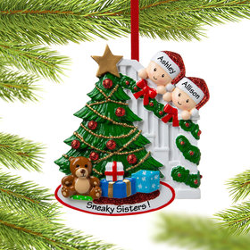 Personalized Present Peeking Family of 2 Christmas Ornament
