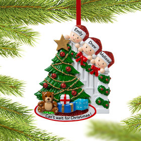 Personalized Present Peeking Family of 3 Christmas Ornament