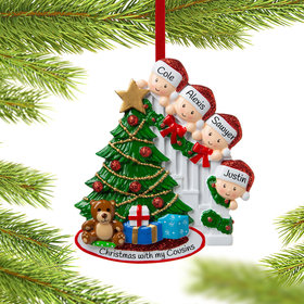 Personalized Present Peeking Family of 4 Christmas Ornament