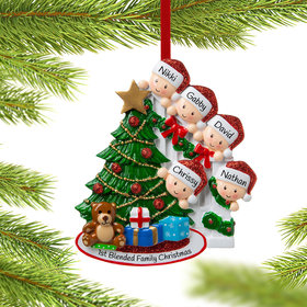 Personalized Present Peeking Family of 5 Christmas Ornament