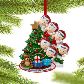 Personalized Present Peeking Family of 6 Christmas Ornament