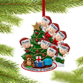 Personalized Present Peeking Family of 7 Christmas Ornament