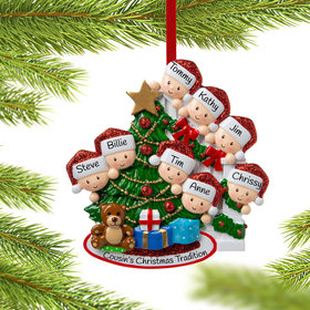Present Peeking Family of 8 Christmas Ornament