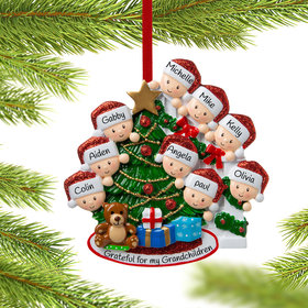 Present Peeking Family of 9 Christmas Ornament