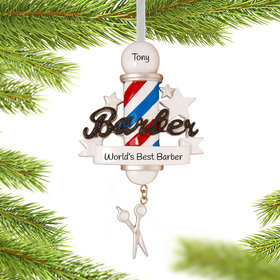 Personalized Barber Christmas Ornament