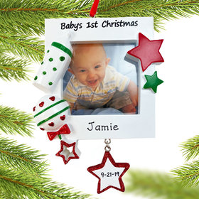 Personalized Baby's First Christmas Picture Frame Ornament with Star Christmas Ornament