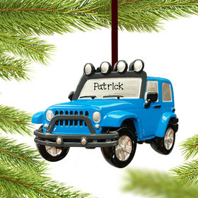 Personalized Blue Jeep Christmas Ornament