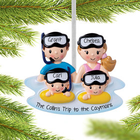 Personalized Snorkle Family of 4 Christmas Ornament