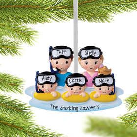 Personalized Snorkle Family of 5 Christmas Ornament