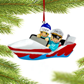 Personalized Boating Couple Christmas Ornament