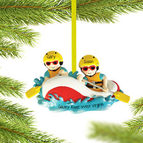 Personalized White Water Rafting Couple Christmas Ornament