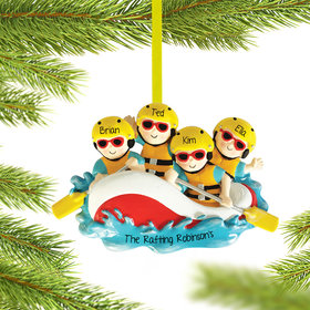 Personalized White Water Rafting Family of 4 Christmas Ornament