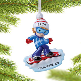 Personalized Snowboarder Boy Christmas Ornament