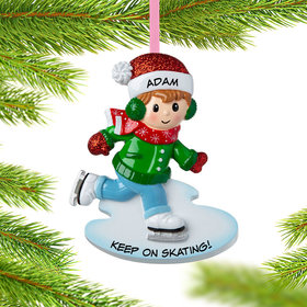 Personalized Ice Skating Boy Christmas Ornament