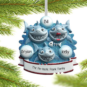 Personalized Shark Family of 3 Christmas Ornament