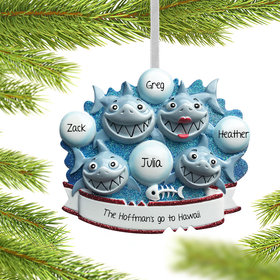 Personalized Shark Family of 4 Christmas Ornament