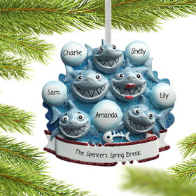 Personalized Shark Family of 5 Christmas Ornament