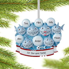 Personalized Shark Family of 6 Christmas Ornament