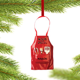 Personalized 'King of the Grill' Apron Christmas Ornament