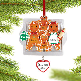 Personalized 'Made with Love' Gingerbread Family of 4 Christmas Ornament