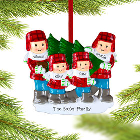 Personalized Tree Family of 4 Christmas Ornament